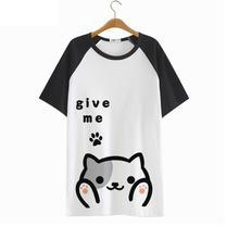 High-Q unisex cartoon Neko Atsume Tees T-Shirts tshirt Neko Atsume breathable cartoon NekoAtsume loose t-shirt tshirt tees