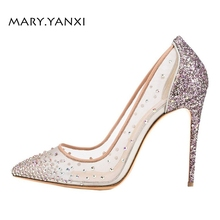 Women Pumps Big Size Shoes Crystal Bling Air Mesh Transparent High Thin Heels Pointed Toe Fashion Party Sexy Slip-On Shallow women pumps big size shoes gold crystal bling mesh transparent high thin heels pointed toe fashion party sexy slip on shallow