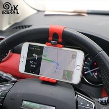 IKSNAIL Universal Car Phone Holder Auto Steering Wheel Mount Buckle Socket Holder for iphone Car Bike Handlebar Clip GPS Stands 5121 car steering wheel phone socket holder black red
