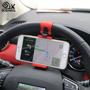 IKSNAIL Universal Car Phone Holder Auto Steering Wheel Mount Buckle Socket Holder for iphone Car Bike Handlebar Clip GPS Stands(China)