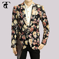Мода Мужская Цветочные Blazer Пальто Куртки 2016 Новая Кнопка Мужской Костюм Досуг Бизнес Свадебное Платье Slim Fit Мужские Костюмы