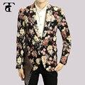 Moda Hombres Floral Blazer Chaqueta de la Capa 2016 Nuevo Botón Traje Masculino Ocio Slim Fit Hombres Trajes de Negocios Vestido de Boda