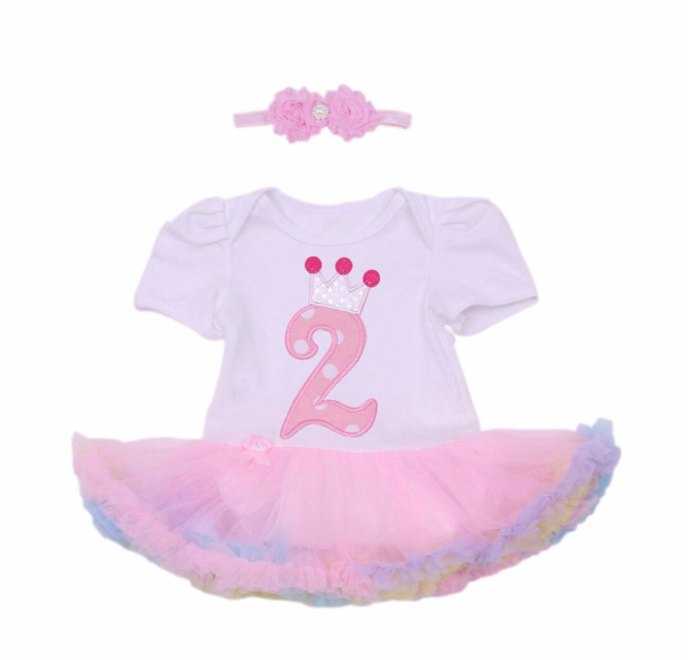 Baby Girl 1st Birthday Princess Crown Party Dress Set