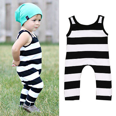 Newborn Infant Baby Boy Girl Cotton Sleeveless Striped Romper Jumpsuit Kids Clothes Outfit newborn infant baby girl clothes strap lace floral romper jumpsuit outfit summer cotton backless one pieces outfit baby onesie