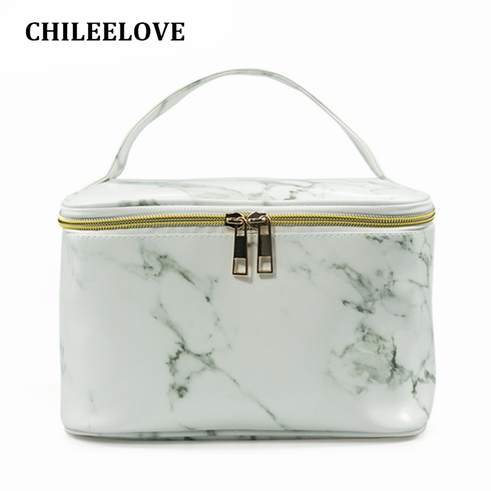CHILEELOVE 2018 NEW Marble Pattern Line PU PVC HandBag Portable Cosmetic Box Storage Bag For Makeup Brushes Skincare Suitcase new women fashion pu leather cosmetic bag high quality makeup box ladies toiletry bag lovely handbag pouch suitcase storage bag