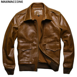 2017 new men brown usaf a2 leather pilot jacket genuine thick cowhide plus size 6xl loose.jpg 250x250