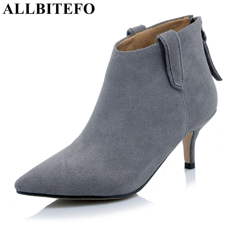 ALLBITEFO new arrive genuine leather pointed toe thin heel women boots brand high heels martin boots ankle boots girls shoes