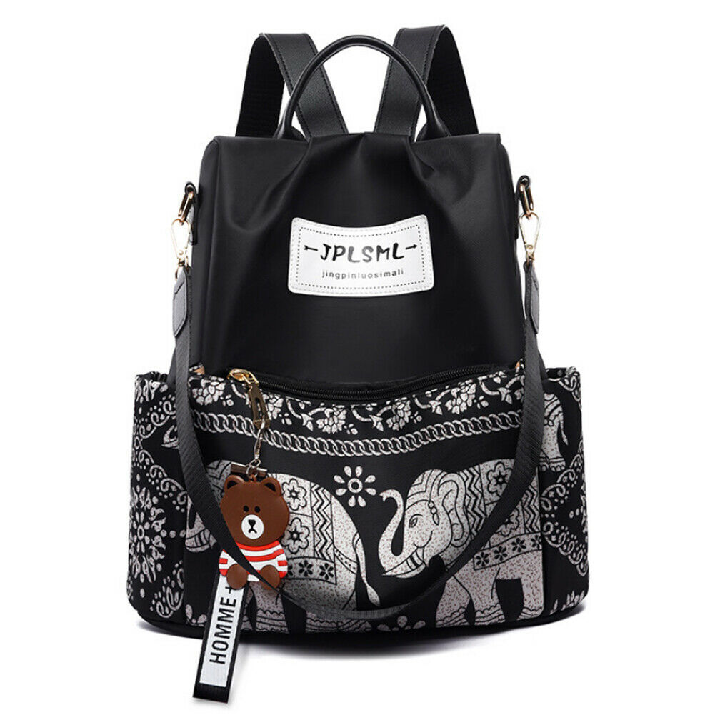 Fashion womens backpack travel burglar cartoon print black shoulder bag trend school bagFashion womens backpack travel burglar cartoon print black shoulder bag trend school bag