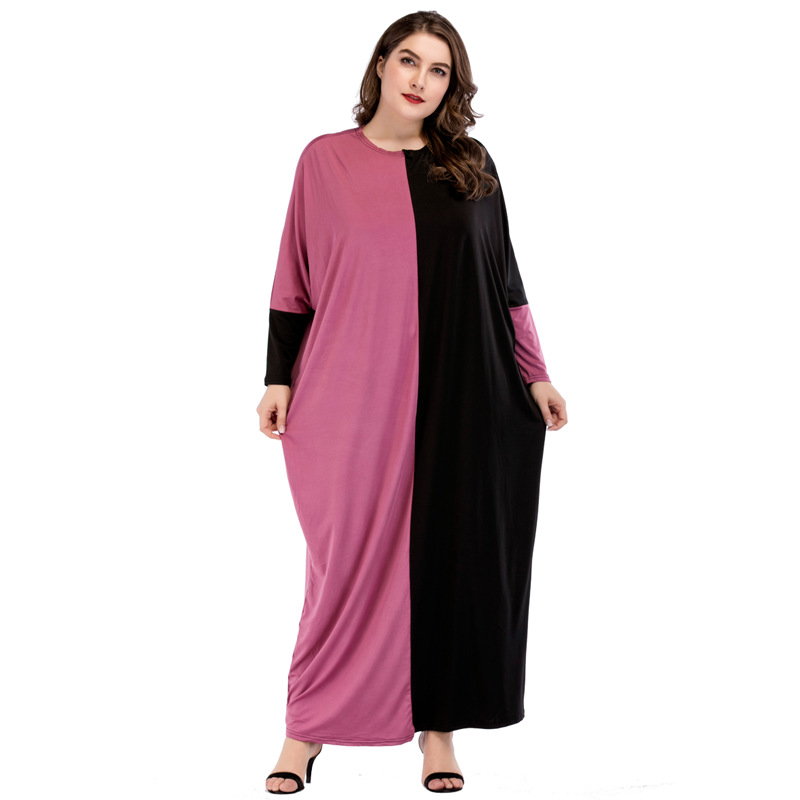 185440-1 2018 Hot Plus Size Musulman Women  Contrasting Stitching Loose Abaya Dress Large Womens Middle East Arab Robes
