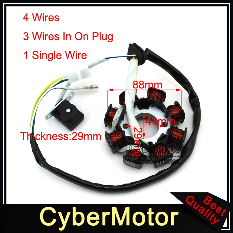 8 COIL POLE 4 WIRE IGNITION STATOR MAGNETO CHARGING SYSTEM ENGINE PART GO KART
