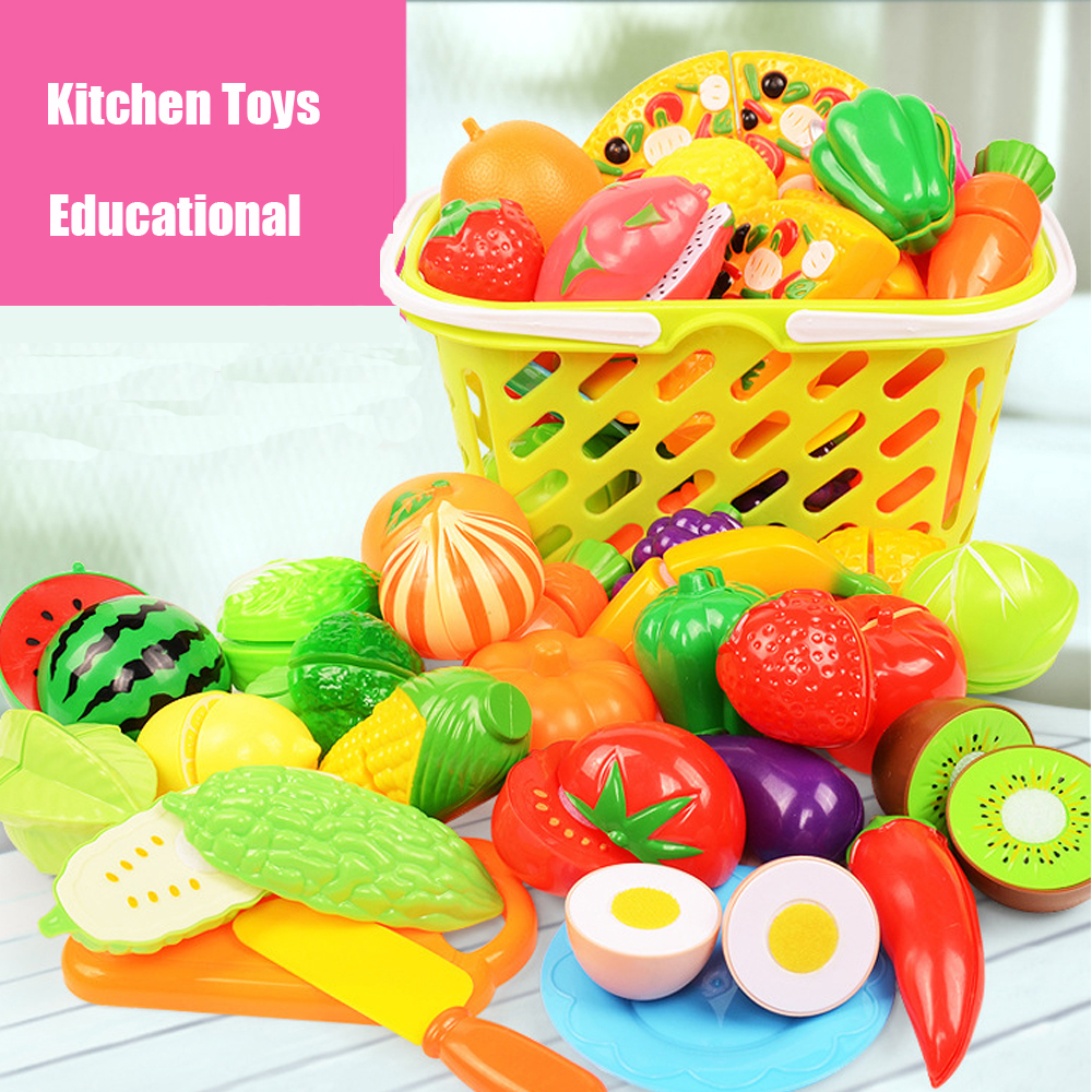 Educational Plastic Kitchen Toys Pretend Play Food Fruits And Vegetables Cutting Toys For Children Girls Gifts