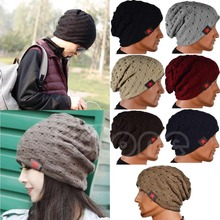 1441c3a7b47b9 New Men Winter Skull Chunky Women Knit Beanie Reversible Baggy Cap Warm  Unisex Hat(China
