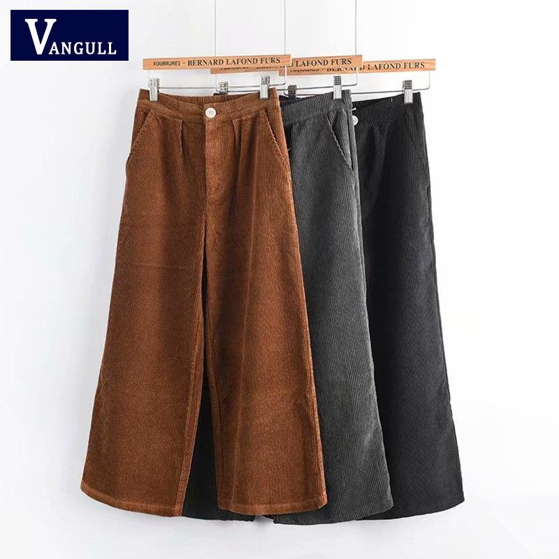 VANGULL Women Corduroy   Pants   Women Winter Ankle Length   Wide     Leg     Pants   2018 New Vintage   Pants   Casual Female Fashion Long Jeans