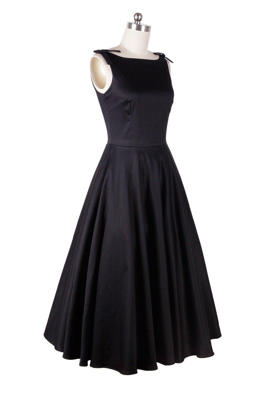 Audrey hepburn stile vintage 50 s 60 s abiti little black tea lunghezza elegante vestito casuale abbigliamento donna spedizione gratuita