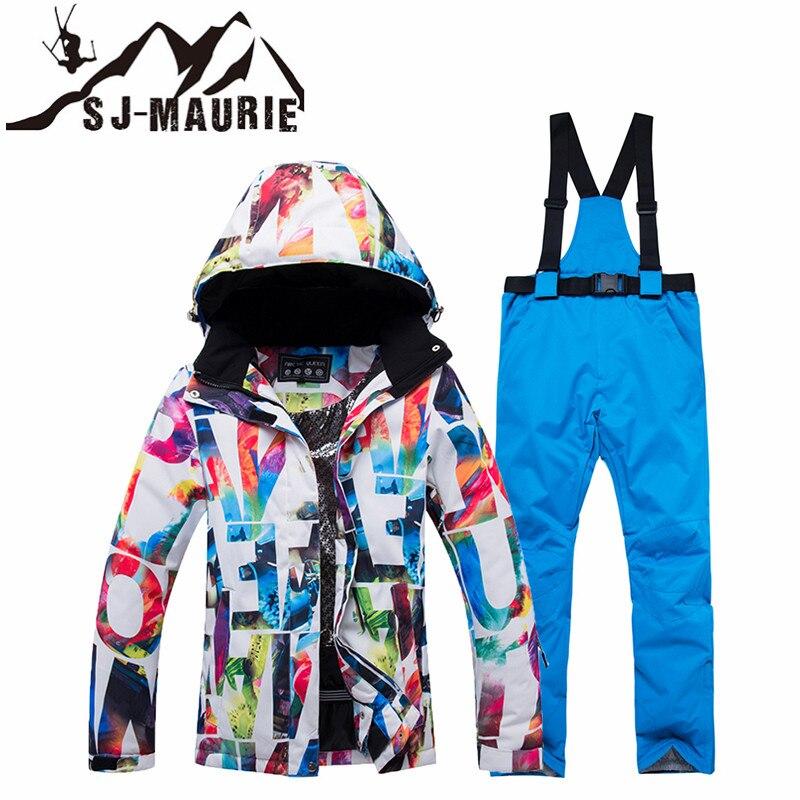 SJ-MAURIE Ski Suit Women Winter Jacket Pants Snowboarding Sets Female  Winter Sportswear Breathable Waterproof 0c805e188