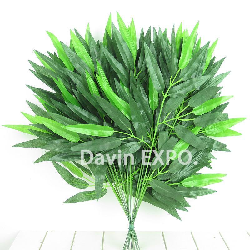 12 τεμάχια διακοσμητικό λουλούδι πράσινο μετάξι τεχνητό μπαμπού φυτά διακόσμηση σπίτι αφήνει φύλλα γαμήλιο πάρτι τόξο vintage προμήθειες