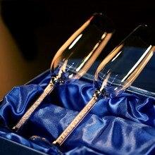Свадебные стеклянные бокалы для шампанского, 250 мл, 2 шт, Роскошные вечерние бокалы для тостов, хрустальные стразы, дизайн H1005
