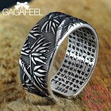 GAGAFEEL Echte 999 Sterling Zilveren Ringen voor Mannen Schrift Persoonlijkheid Verstelbare Bamboe Thai Zilveren Ring Sieraden Gift Groothandel
