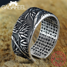 GAGAFEEL Real 999 Sterling Silver Rings for Men Scripture Personality Adjustable Bamboo Thai Silver Ring Jewelry Gift Wholesales