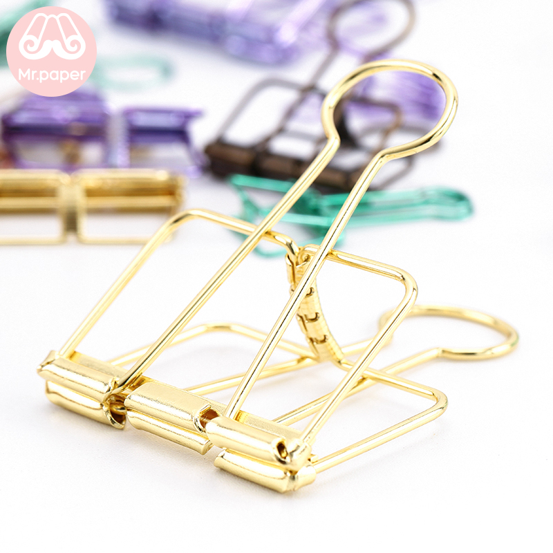 Mr Paper 8 Colors 3 Sizes Ins Colors Gold Sliver Rose Green Purple Binder Clips Large Medium Small Office Study Binder Clips 5
