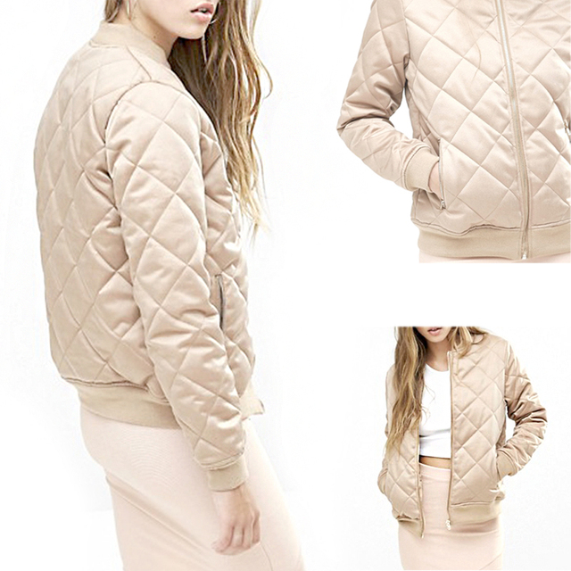 Womens Sólidos Satin Zip Up Bomber Baseball Casacos Casual Brasão Jacket Tops