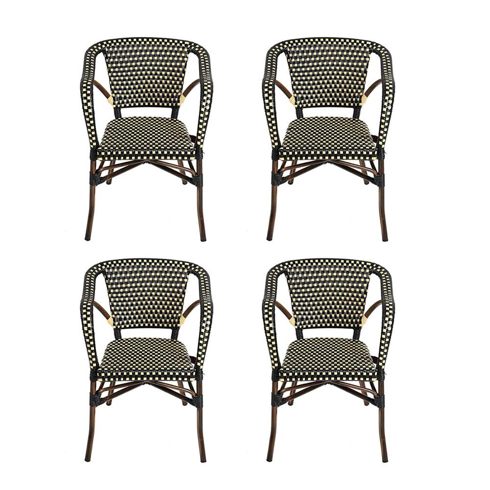 US $475.19 1% OFF 4 Piece Patio Rattan Wicker Chair, Indoor Outdoor Use  Garden Lawn Backyard Bistro Cafe Stack Chair,All Weather Resistant-in  Dining ...