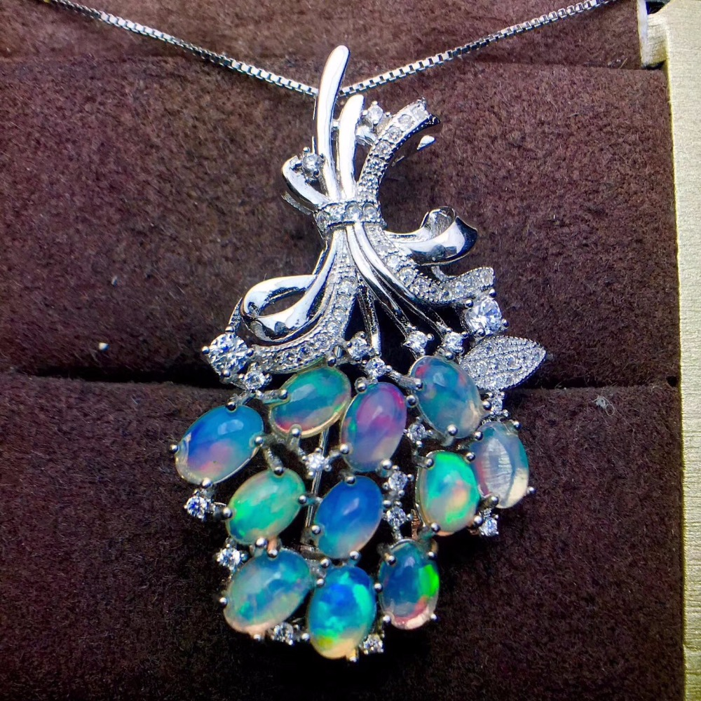 Pendant Brooch dual purpose style 925 Silver Natural opal transform color super beautiful natural gemstone monopoly