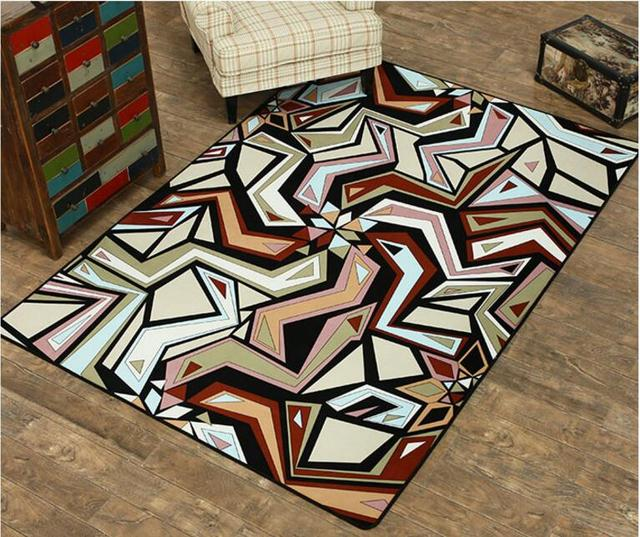 Retro Tree and Geometric Patterned Bedroom Carpet