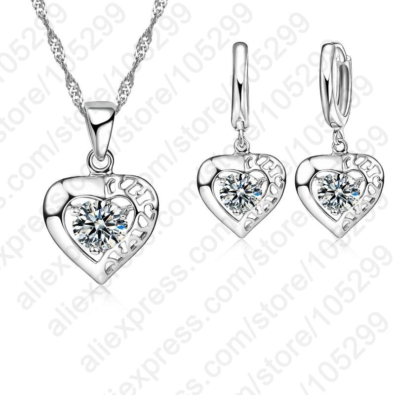 29822db4611f JEXXI de alta calidad 925 joyería de plata esterlina claro CZ ahueca hacia  fuera el amor del corazón colgante collar pendiente para la boda de la mujer  ...
