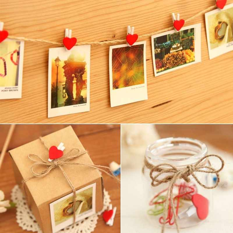 20 pc עץ תמונה קליפים צורת לב חמוד אדום מיני עץ תמונה Prgs מסיבת חתונה קיר לקשט יתדות נייר קליפ בית תפאורה קרפט