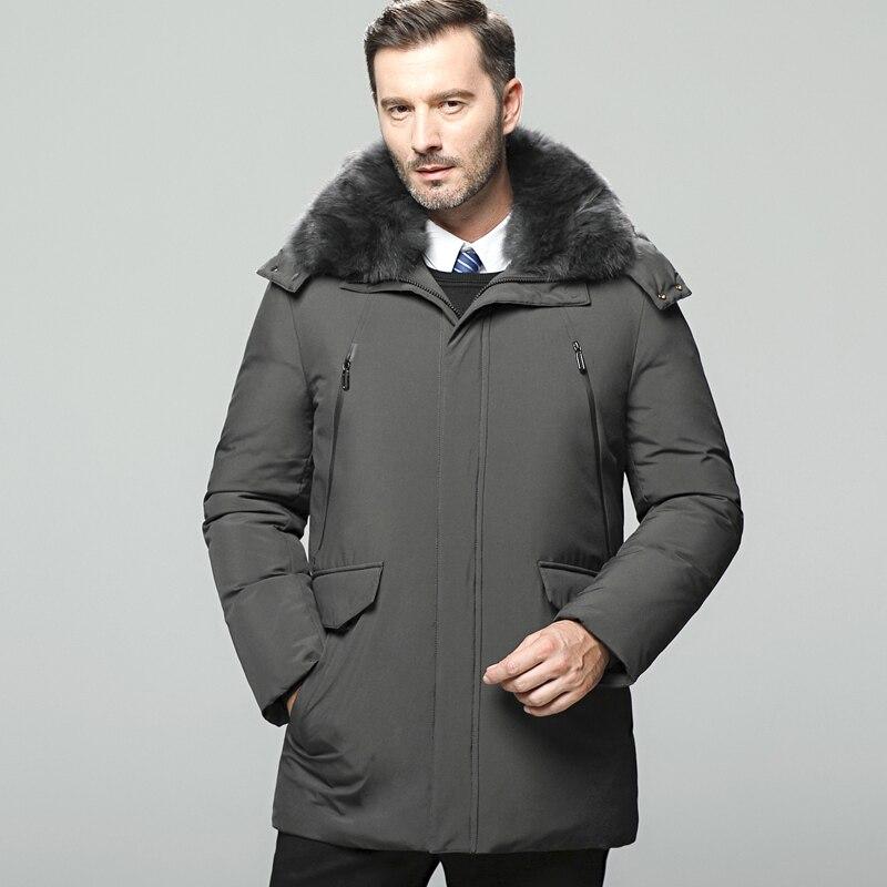 M-5XL Men's Winter   Coats   Men Medium Style   Down   Jackets Thicken Warm Stand Collar White Duck   Down     Coats   Zippered Hooded   Coats