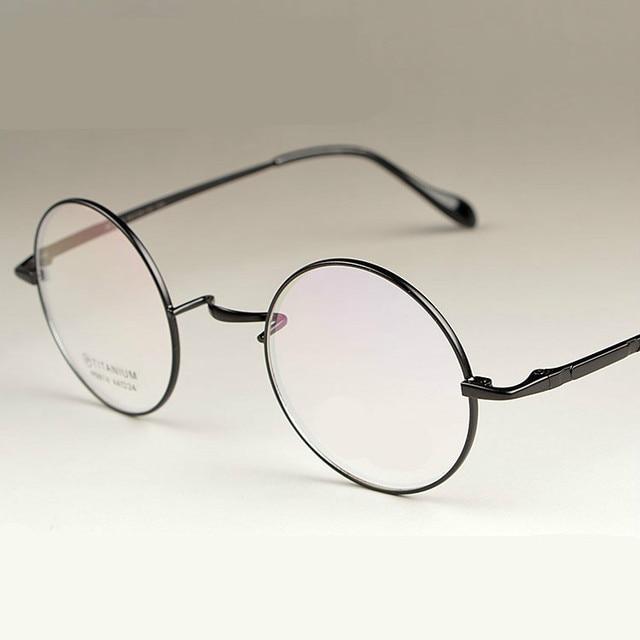 2016 Nueva Moda asistente 100% Marcos de las Lentes Hombres mujeres Anteojos redondos de Oro de Titanio puro Marcos de los Vidrios de 4 Colores