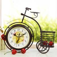 TUDA Multifunctional Bicycle Design Creative Garden Clock Iron Pen Watch Mute Machine Bed Decoration