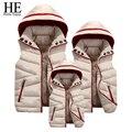 ELE Olá a Família Roupas Combinando 2016 Inverno para baixo casaco jaqueta 4xl Filha Filho Pai Mãe família Colete roupas combinando