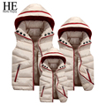 HE Hello Enjoy Family Matching Outfits 2016 Winter down coat jacket 4xl Mother Father Daughter Son Vest family matching clothes