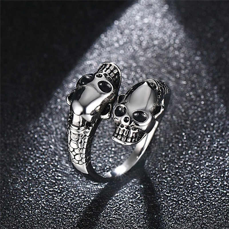 Mling Fashion Stainless Steel Ring Men Punk Gold / Silver Skull Rings For Women Men Adjustable Ring Anillos Party Jewelry bague