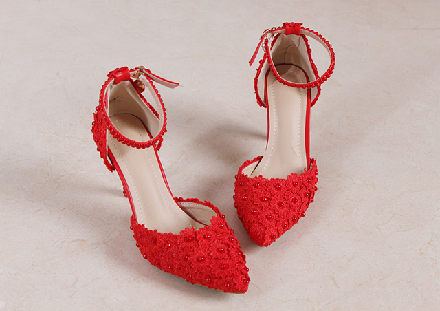 Aliexpress.com : Buy Red ankle strap lace bridal shoes high heel ...