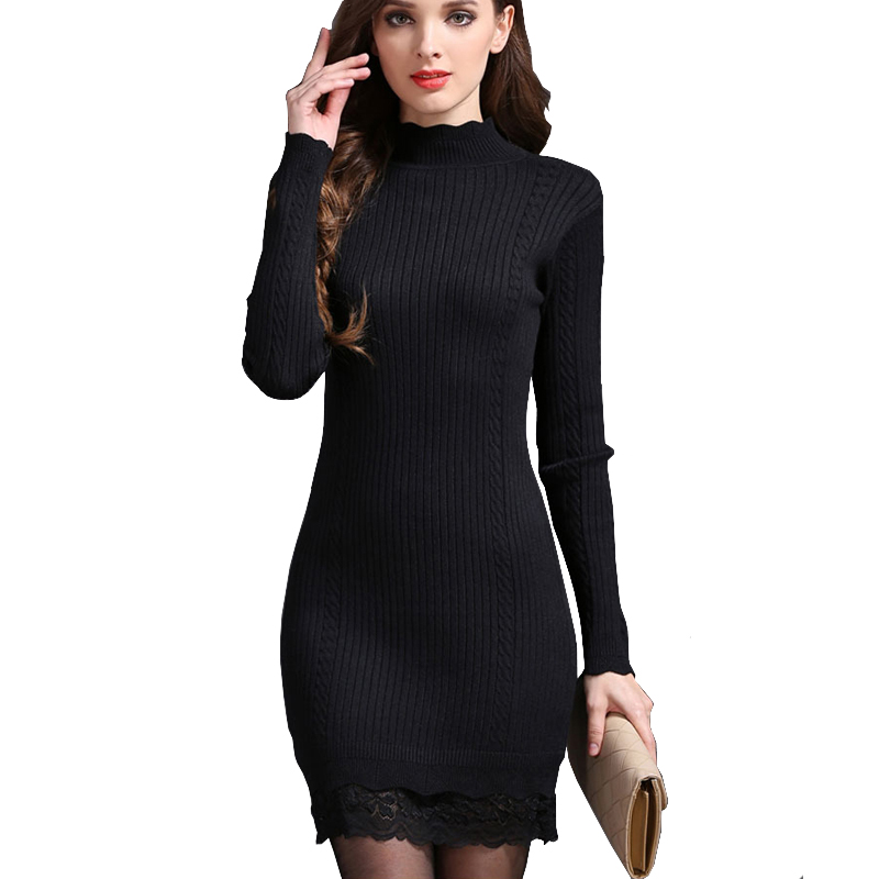 Winter Sweater Dresses For Women Korean Long Sleeve Bodycon Half Turtle Neck Knitted Dresses With Lace Trim Warm Knit Dress Pull long sleeve bodycon dress with slits