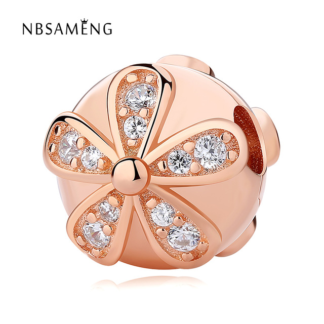 Real 925 Sterling Silver Rose Gold Color & Clear CZ Flower Round Stopper Cilp Beads Fit Pandora Original Bracelets DIY Jewelry