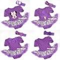 Púrpura Mono Mono Mameluco Leopardo Pettiskirt Del Bebé de La Venda Nb-18m MAJS0053