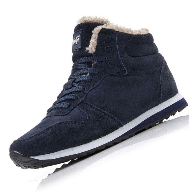 Men Boots Men Winter Shoes Plus Size 35-46 Warm Ankle Botas Hombre For Leather Winter Boots Shoes Men Plush Winter Sneakers Mens