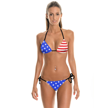 NEW 012 Summer USA Flag Star Striped 3D Prints Sexy Girl  Thongs Ropes Bikini Set Swimsuit Swimwear Women Bathing Suit