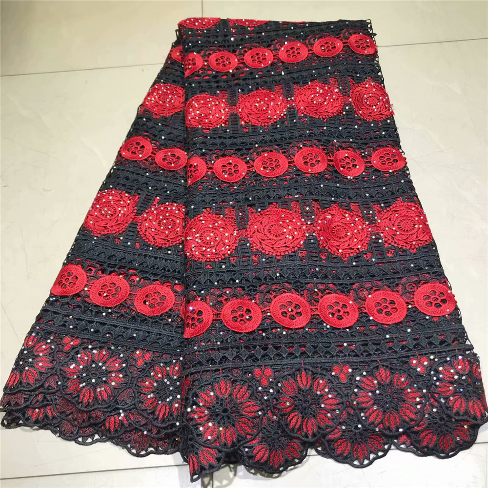2019 Latest Nigerian Black and red Laces Fabrics High Quality African Laces Fabric For Wedding Dress French Tulle Lace2019 Latest Nigerian Black and red Laces Fabrics High Quality African Laces Fabric For Wedding Dress French Tulle Lace