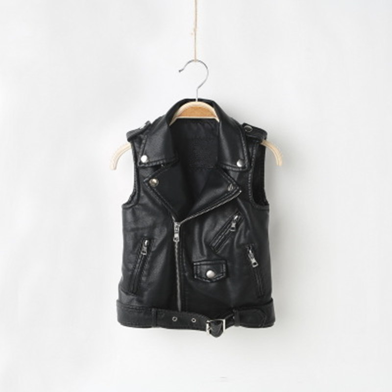 Wholesale Fashion Kids PU Leather Vests Spring Autumn Black & Red Boys Winter Waistcoats 3-8 Years Old Girls Outerwear Zipper