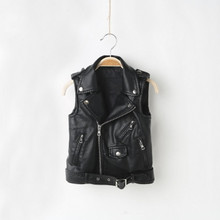 Wholesale Fashion Kids PU Leather Vests Spring Autumn Black & Red Boys Winter Waistcoats Three-Eight Years Old Girls Outerwear Zipper