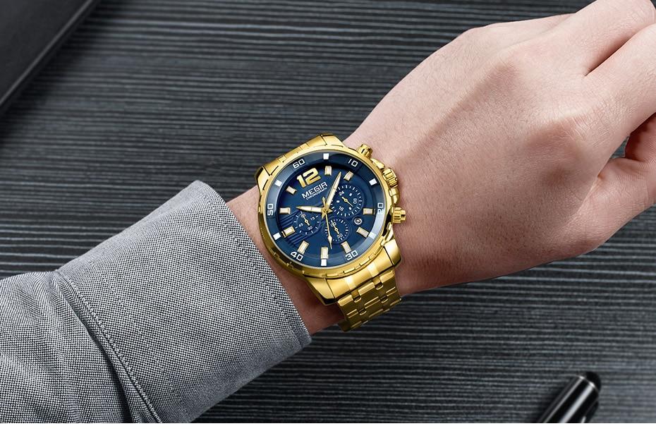 HTB12wgbXOCYBuNkSnaVq6AMsVXar Megir Men's Gold Stainless Steel Quartz Watches Business Chronograph Analgue Wristwatch for Man Waterproof Luminous 2068GGD-2N3