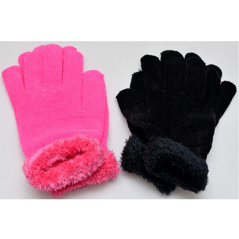 Unisex Autumn&Winter Men Women Warm Gloves Feather Pure Soft Mittens Gloves Black Pink Cotton Fitness Gloves 2Cols