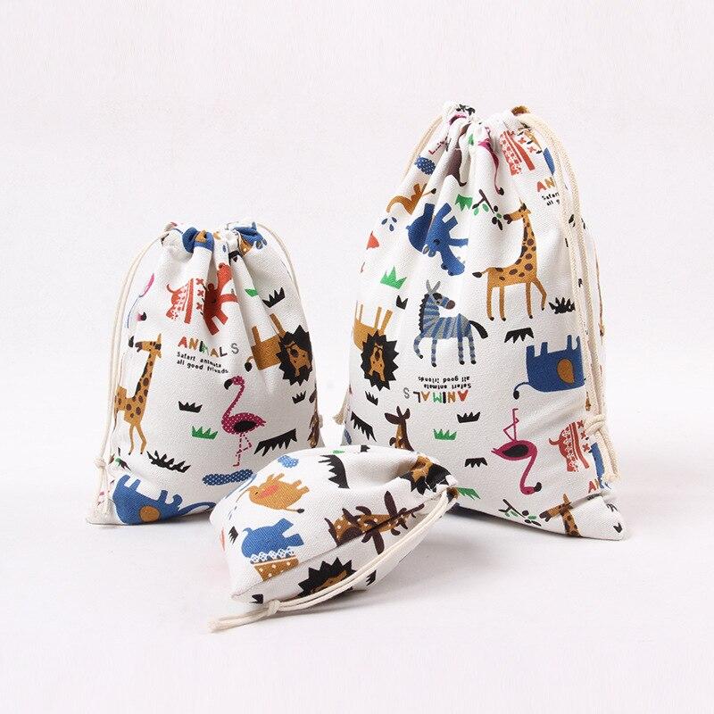 Cute Animal Print Drawstring Bag Canvas Drawstring Bag Japanese And Korean Style Gift Bag