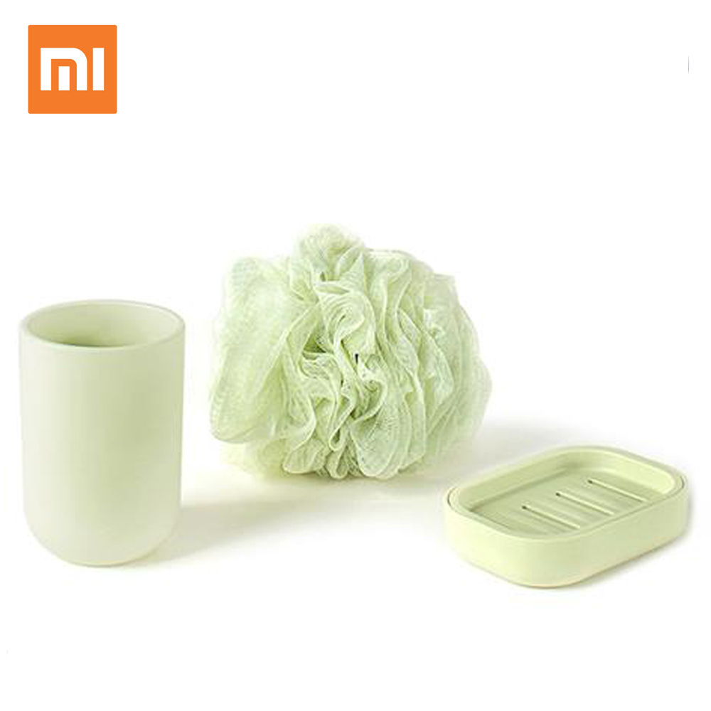 Xiaomi Mijia Likesome Wash Set 3 in 1 Kit Bath Sponge Soap Box Brushing Cup Simple Design Toothbrush Mouthwash Cup simple bathroom ceramic wash four piece suit cosmetics supply brush cup set gift lo861050