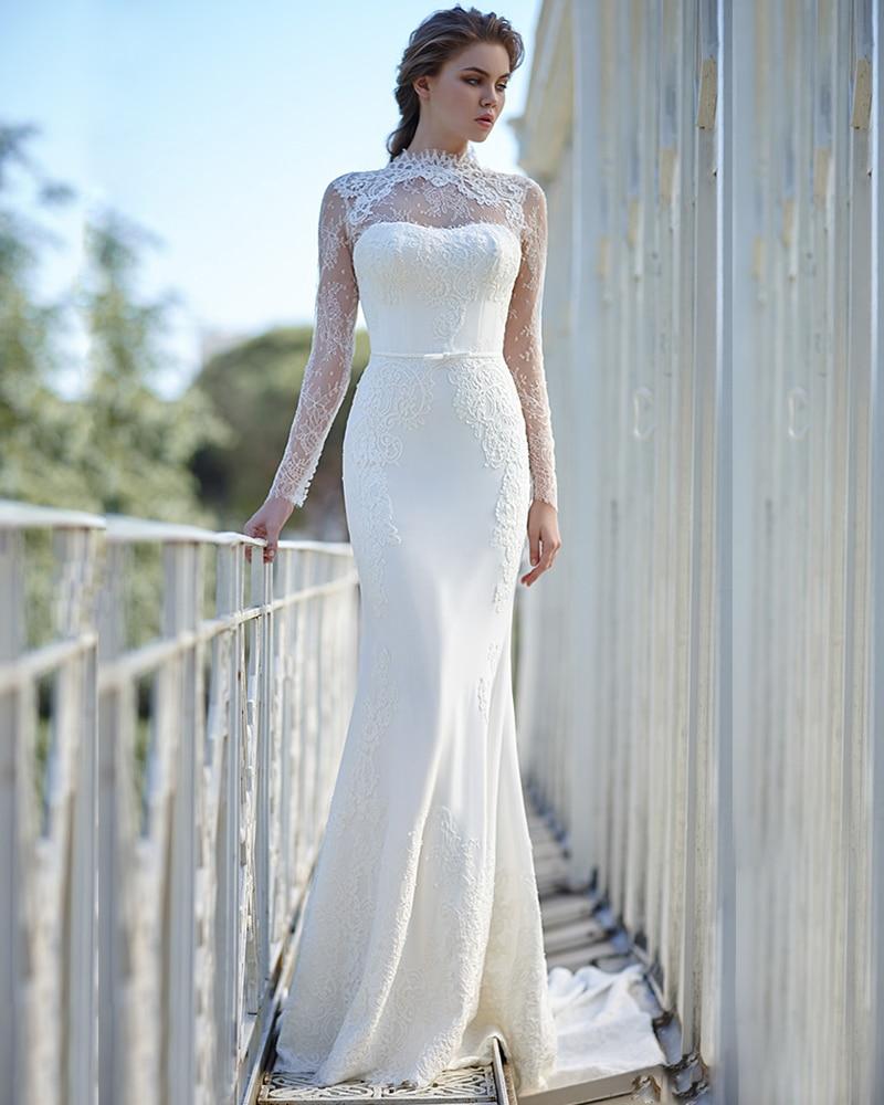 2017 Nueva Venta Elegante de Cuello Alto de La Envoltura Vestidos De ...